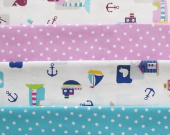 Children's Nautical Cotton Fabric Fat Quarters
