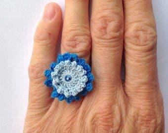 Blue crochet flower ring