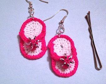 Fuchsia crochet flip flop earrings