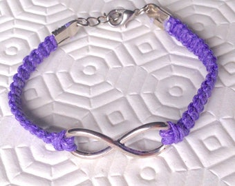 Lilac braided bracelet with an infinity symbol