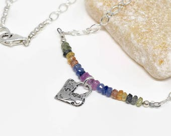 Dainty Multi Sapphire Necklace, September Birthday, Sterling Heart Charm, Ombre Sapphire Necklace, Easter Spring Jewelry, MahiDesigns1