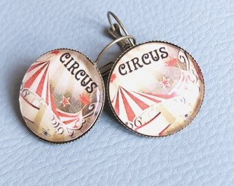 Large vintage - Circus cabochon earrings-