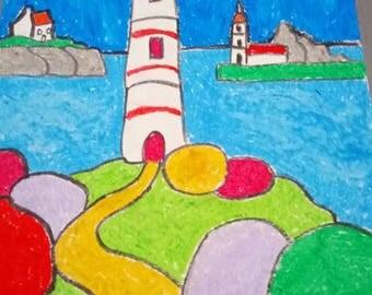 lighthouses on sea landscape design full color