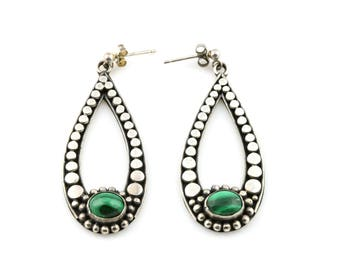 Pretty Vintage Silver Malachite Drop Earrings