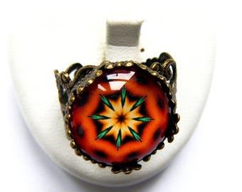 Ornate ring orange and green mandala