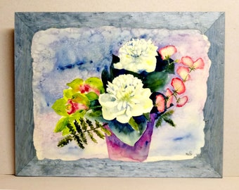 """WATERCOLOR NELLY """"White Peony"""" Panel 45 X 35"""