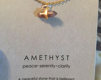 Amethyst Healing Stone Necklace, peace, serenity, clarity