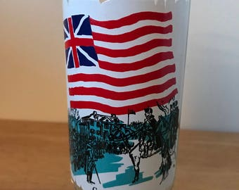 Vintage*Early Flags Of Our Nation* GRAND UNION*Footed Collectors Glass*