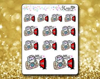 Luna Lounge TV Date Night Stickers - Planner Stickers Erin Condren Life Planner Cute Emoji Netflix Character Girl Stickers  Happy Planner