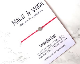 Wanderlust red string bracelet, minimalist compass bracelet, travel friendship bracelet gift, make a wish bracelet, traveler jewelry