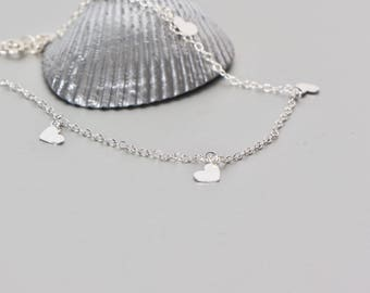 Silver Hearts Anklet, Bridal Anklet,Silver Foot Chain, Thin Chain Anklet, Bohemian Anklet, Love Anklet, Gypsy Anklet, Beach Anklet AS90