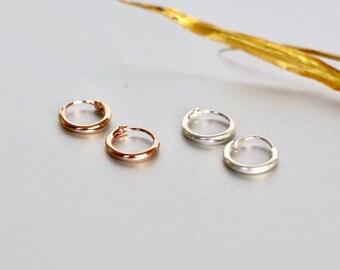 Sterling Silver Ear Hoops, Silver Earrings, Minimalist Earrings, Bohemian Jewelry, Ear Accessory, Bridesmaids Gift, Girls Ear Hoops ( ESP36)