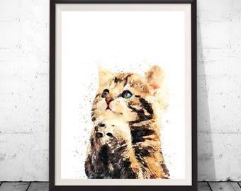 Cat art, cat print, cat painting, cat poster, cat wall decor, animal art, watercolor cat, nursery wall art, watercolor animal, animal print