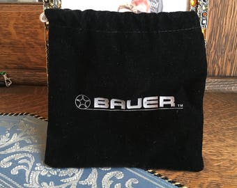 Bauer Fly Fishing Reel Pouch / Bag - Black Cloth Cinch Top Vintage