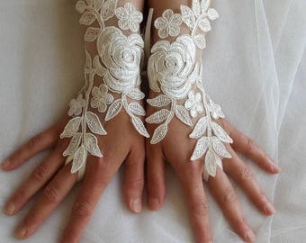 wedding gloves, bride gloves, costume gloves, wedding accessories, ivory lace gloves, free shipping!