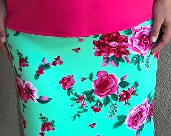 luisalove30~ Lime/Pink Floral Liverpool Modest Pencil Skirt *bow optional  **ELASTIC Waistband