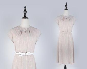 Pink Vintage Print Round Collar Pleated Sleeveless Beige Women Dress Size M