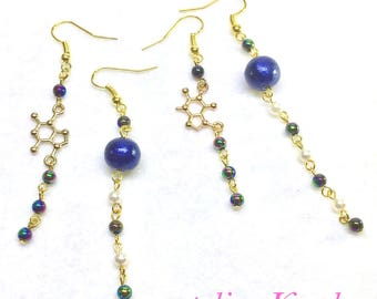 """earrings """"chemical symbol and microcosm"""" asymmetry"""