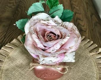 rose gold mason jar decor - rose gold decor - rose gold centerpiece - rose gold personalized decor - rose gold home decor - rose gold favor