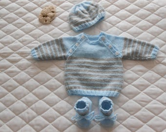 baby boy blue and gray set