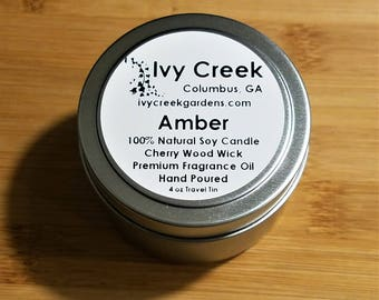 Amber Wood Wick Candle, Amber Candle, Wood Wick Candle, Metal Tin Candle, Amber, Gifts for Her, Gift, Candle