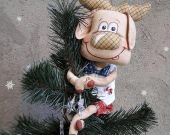 "Moose Christmas tree topper /Christmas Moose, ""Christmoose"", Soft Stuffed Cloth Christmas Tree"