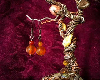 Carnelian Bead Drop Earrings