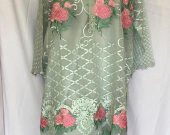 Organza floral kurta tunic with slip