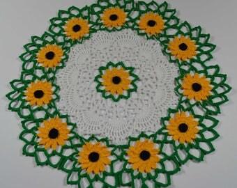 sunflower doily, crochet doily, doily, flower doily, doily
