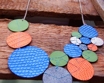 Statement necklace, Bib necklace, lasercut, circle necklace, leather necklace, blue green orange