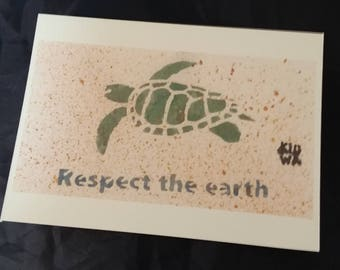 Turtle, respect the earth postcard , illustration carte postale, tortue, ecologie