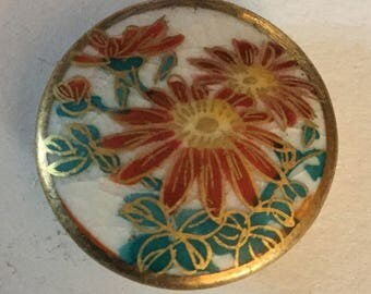 Flowers Satsuma Vintage Button Gilt Border old