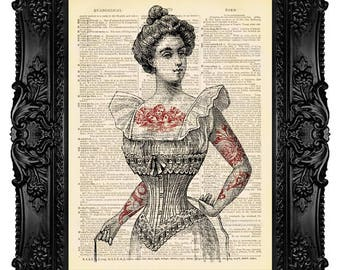 Tattooed Woman in Corset - ORIGINAL ARTWORK - Dictionary Art Print Vintage Upcycled Antique Book Page no.45