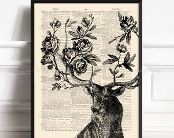 Rose Deer, Printed Mens Gift, Stag Home Decor, Gift for Him to 30, Rose Antler Print, Father Xmas Gift, Grandmother Print, Gift for Her  015