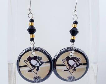 Pittsburgh Penguin Button Earrings