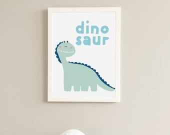 Blue dinosaur. Printable and instant downloadable graphics. Nursery art.