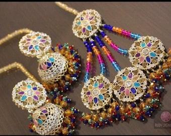 Multi Coloured Mehndi Jhumr and Earrings