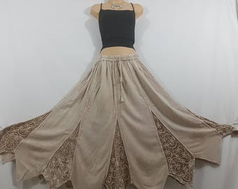 Ladies Long Gypsy Gothic Medieval Renaissance Vintage Embroidered Beige color Autumn/Winter Rayon Velvet Skirt Freesize 12 14 16 18 20