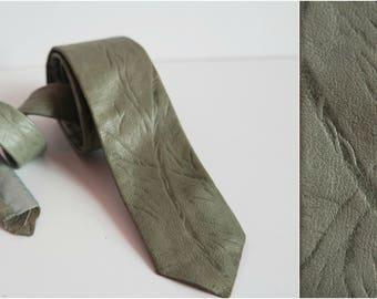 Vintage Gray Leather Skinny Tie, Gray Leather Necktie, 1980s