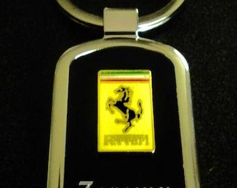 Ferrari Black Onyx & Silver Keychain-Free Engraving