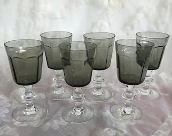 SALE Vintage 6 Crystal Smoke Green Shot/Liquor Glasses (Lenox ?)/Retro Shot Glasses