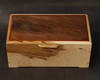 Wood Box, Keepsake, Letter, Valet, Treasure Box. Made with Curly Spalled Maple,  Bocote lid inlay,   Burl Walnut top. Item #B184