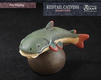Ceramic Redtail Catfish (Phractocephalus hemioliopterus), Pirarara, Interior Ceramic Figurine, Hand-built Ceramic Art, Free Shipping