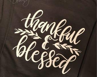 Thankful & Blessed Soft Terry Raglan Crew Sweatshirt/Unisex sizes
