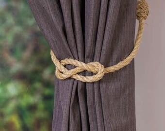 Simple Knot Rustic Nautical Sisal Rope Curtain Tiebacks / Nautical nursery/ curtain tie-backs/ hold backs/ boho decor/ coastal beach decor