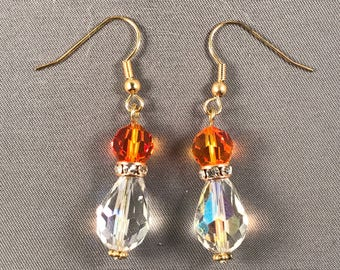 Clear and fire opal Swarovski crystal earrings. 050