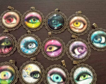 13 eye ball eyes glass cabochon pendants  destash  clearance #p22