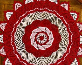 Red Crochet Table Centerpiece - Pinwheel Doily - Cottage Decor - Crochet Lace Doily - Handmade Doilies - Vintage Home Decor - Wedding Gift