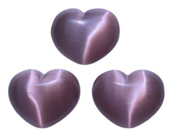 Lot of 3 Puffy Heart Light Purple Fiber Optic Cats Eye Glass Pocket Hand Carved