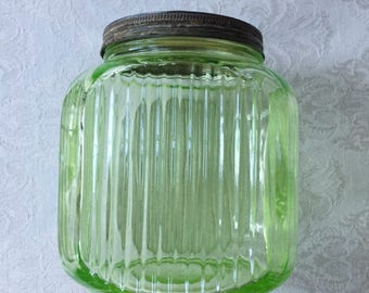 Hoosier Green Depression Glass Jr. Canister With Lid, Anchor Hocking Green  Transparent 1930u0027s Kitchen